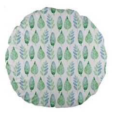 Green Watercolour Leaves Pattern Large 18  Premium Round Cushions by TanyaDraws