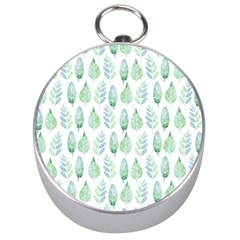 Green Watercolour Leaves Pattern Silver Compasses by TanyaDraws