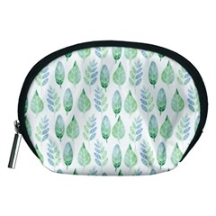 Green Watercolour Leaves Pattern Accessory Pouches (medium)  by TanyaDraws