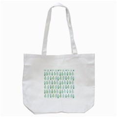 Green Watercolour Leaves Pattern Tote Bag (white) by TanyaDraws