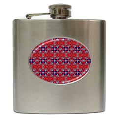 Geometric Pattern Red And Gray, Blue Hip Flask (6 Oz) by Cveti
