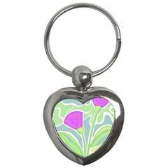 Purple Flowers Key Chains (heart)  by Valentinaart