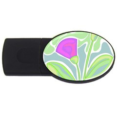Purple Flowers Usb Flash Drive Oval (4 Gb)  by Valentinaart