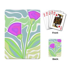 Purple Flowers Playing Card by Valentinaart