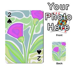 Purple Flowers Playing Cards 54 Designs  by Valentinaart