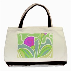 Purple Flowers Basic Tote Bag by Valentinaart