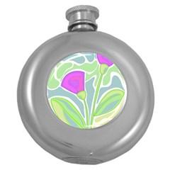 Purple Flowers Round Hip Flask (5 Oz) by Valentinaart