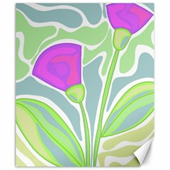 Purple Flowers Canvas 20  X 24   by Valentinaart