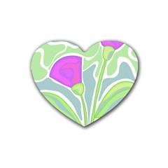 Purple Flowers Rubber Coaster (heart)  by Valentinaart