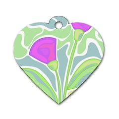 Purple Flowers Dog Tag Heart (two Sides) by Valentinaart