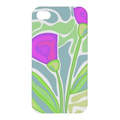 Purple Flowers Apple Iphone 4/4s Premium Hardshell Case by Valentinaart