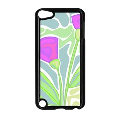 Purple Flowers Apple Ipod Touch 5 Case (black) by Valentinaart