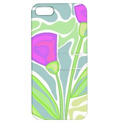 Purple Flowers Apple Iphone 5 Hardshell Case With Stand by Valentinaart