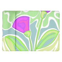 Purple Flowers Samsung Galaxy Tab 10 1  P7500 Flip Case by Valentinaart
