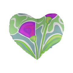 Purple Flowers Standard 16  Premium Flano Heart Shape Cushions by Valentinaart