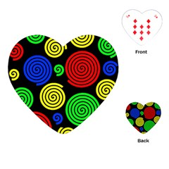 Colorful Hypnoses Playing Cards (heart)  by Valentinaart