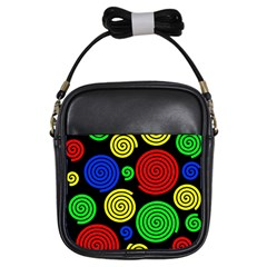 Colorful Hypnoses Girls Sling Bags by Valentinaart