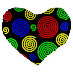 Colorful Hypnoses Large 19  Premium Flano Heart Shape Cushions by Valentinaart