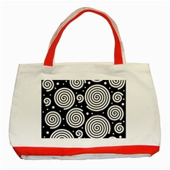 Black And White Hypnoses Classic Tote Bag (red) by Valentinaart