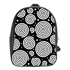 Black And White Hypnoses School Bags(large)  by Valentinaart