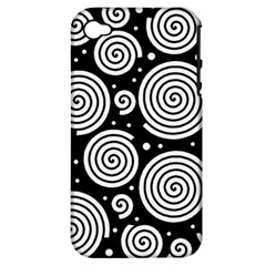 Black And White Hypnoses Apple Iphone 4/4s Hardshell Case (pc+silicone) by Valentinaart
