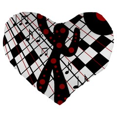 On The Dance Floor  Large 19  Premium Heart Shape Cushions by Valentinaart