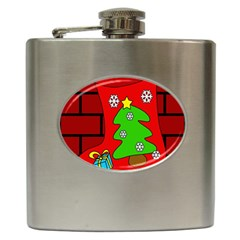 Christmas Sock Hip Flask (6 Oz) by Valentinaart