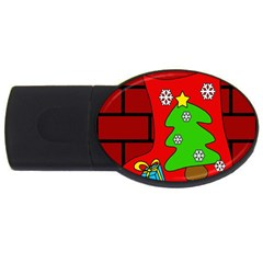 Christmas Sock Usb Flash Drive Oval (2 Gb)  by Valentinaart