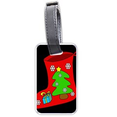 Christmas Sock Luggage Tags (one Side)  by Valentinaart