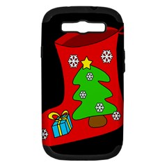 Christmas Sock Samsung Galaxy S Iii Hardshell Case (pc+silicone) by Valentinaart