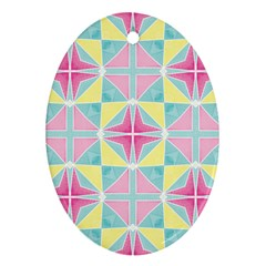 Pastel Block Tiles Pattern Ornament (oval)  by TanyaDraws