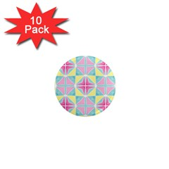 Pastel Block Tiles Pattern 1  Mini Magnet (10 Pack)  by TanyaDraws