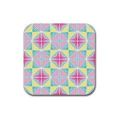 Pastel Block Tiles Pattern Rubber Square Coaster (4 Pack)  by TanyaDraws