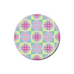 Pastel Block Tiles Pattern Rubber Coaster (round)  by TanyaDraws