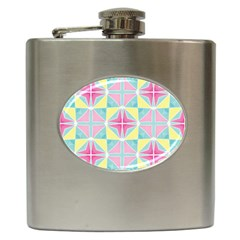Pastel Block Tiles Pattern Hip Flask (6 Oz) by TanyaDraws