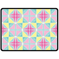 Pastel Block Tiles Pattern Fleece Blanket (large)  by TanyaDraws