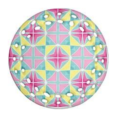 Pastel Block Tiles Pattern Round Filigree Ornament (2side) by TanyaDraws
