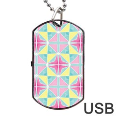Pastel Block Tiles Pattern Dog Tag Usb Flash (two Sides)  by TanyaDraws