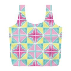 Pastel Block Tiles Pattern Full Print Recycle Bags (l)  by TanyaDraws