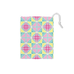 Pastel Block Tiles Pattern Drawstring Pouches (small)  by TanyaDraws