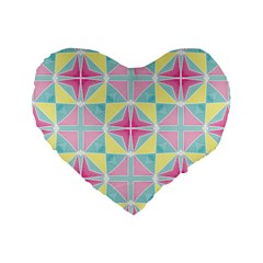Pastel Block Tiles Pattern Standard 16  Premium Flano Heart Shape Cushions by TanyaDraws