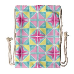 Pastel Block Tiles Pattern Drawstring Bag (large) by TanyaDraws
