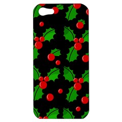 Christmas Berries Pattern  Apple Iphone 5 Hardshell Case by Valentinaart
