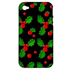 Christmas Berries Pattern  Apple Iphone 4/4s Hardshell Case (pc+silicone) by Valentinaart
