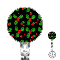 Christmas Berries Pattern  Stainless Steel Nurses Watch by Valentinaart