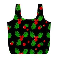 Christmas Berries Pattern  Full Print Recycle Bags (l)  by Valentinaart