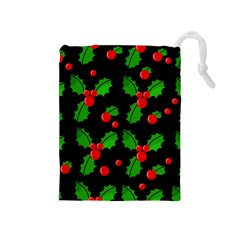Christmas Berries Pattern  Drawstring Pouches (medium)  by Valentinaart