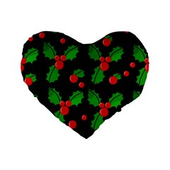 Christmas Berries Pattern  Standard 16  Premium Flano Heart Shape Cushions by Valentinaart