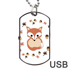 Fox In Autumn Dog Tag Usb Flash (two Sides)  by vanessagf