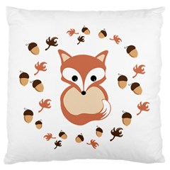 Fox In Autumn Large Flano Cushion Case (two Sides) by vanessagf